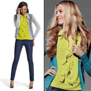 Cabi Reign Neon Yellow Ruffle Sleeveless Top